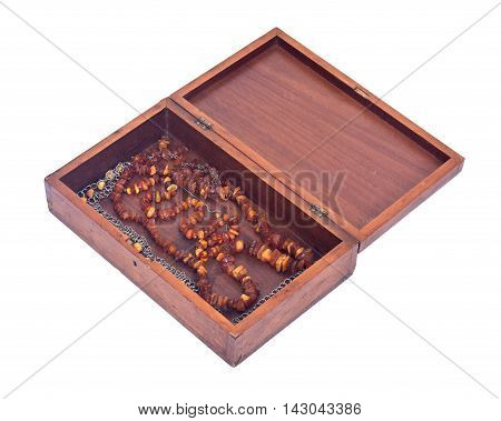 Open vintage treasure box separated on white background