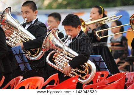Orel Russia - August 05 2016: Orel city day. Chinese children playing tubes on stage