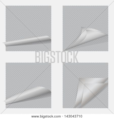 Set of Page curl with shadow on blank sheet of paper. White sticker. Element for advertising and promotional message isolated on transparent background Vector illustration for your design and business