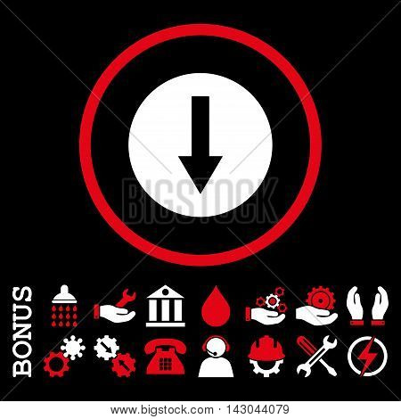 Down Rounded Arrow glyph bicolor icon. Image style is a flat pictogram symbol inside a circle, red and white colors, black background. Bonus images are included.