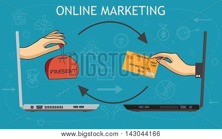 e-commerce concept ,online shopping marketing connection conceptual illustration vector