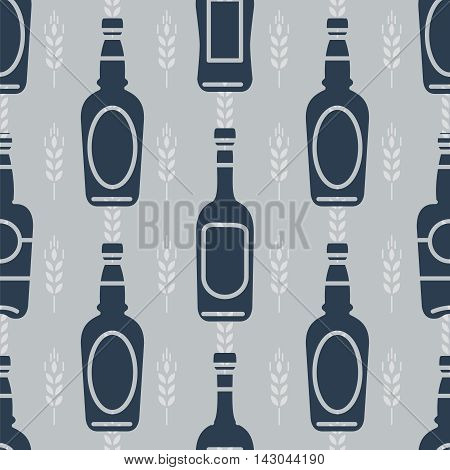 Seamless pattern with bottles of beer and wheats. Vector illustration