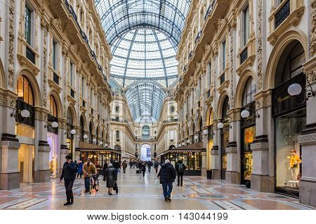 MILAN, ITALY - JANUARY 29, 2016: Interior view of Galleria Vittorio Emanuele II the oldest shopping mall in the world Milan Italy