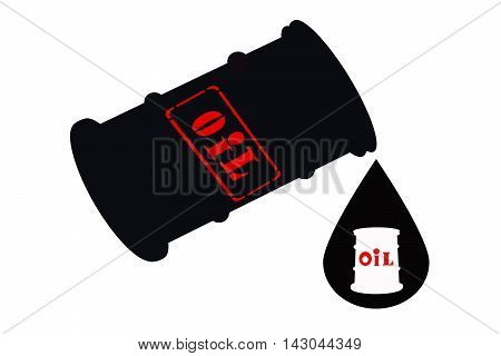 Barrel of oil and  drop on white background .