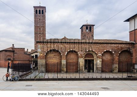 MILAN, ITALY - JANUARY 29, 2016: Side view of Sant'Ambrogio Church in Milan Italy