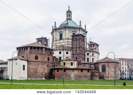 Back view of the Sant Lorenzo Church in Milan Italy