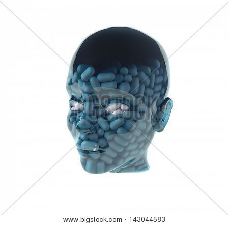 man with pills in head, 3d illustration
