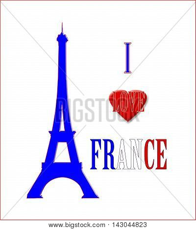 I Love France, Eiffel Tower Poster 01 A