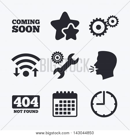 Coming soon icon. Repair service tool and gear symbols. Wrench sign. 404 Not found. Wifi internet, favorite stars, calendar and clock. Talking head. Vector