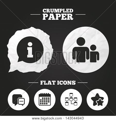 Crumpled paper speech bubble. Information sign. Group of people and database symbols. Chat speech bubbles sign. Communication icons. Paper button. Vector