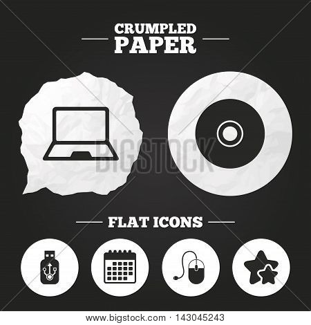 Crumpled paper speech bubble. Notebook pc and Usb flash drive stick icons. Computer mouse and CD or DVD sign symbols. Paper button. Vector