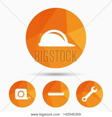 Construction helmet and wrench key tool icons. Ruler and tape measure roulette sign symbols. Triangular low poly buttons with shadow. Vector