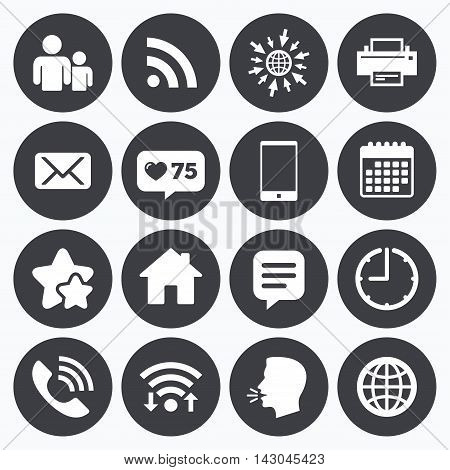Calendar, wifi and clock symbols. Like counter, stars symbols. Contact, mail icons. Communication signs. E-mail, chat message and phone call symbols. Talking head, go to web symbols. Vector