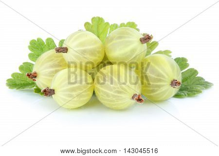 Gooseberries Gooseberry Berry Berries Fruits Fruit Isolated On White