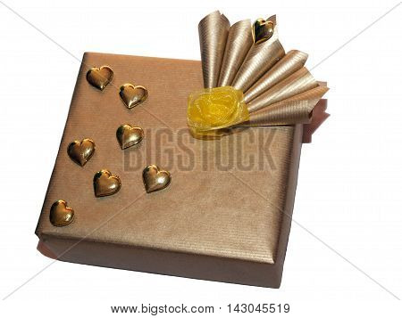 Very luxury wrapping gift with gold hearts