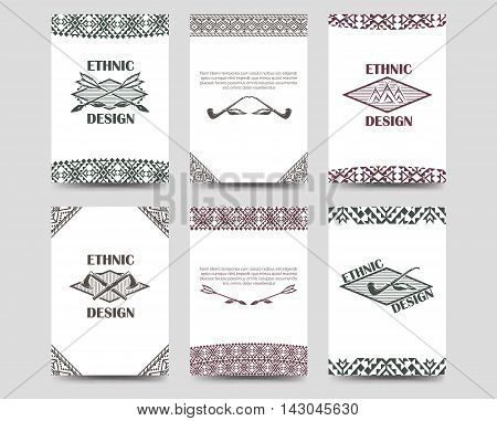 Ethnic cards flyers template set with native american style borders. Vector illustration