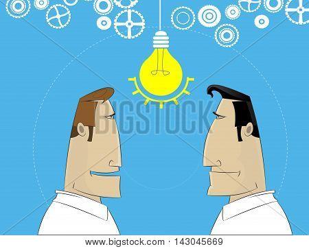 Two cartoon businessman share idea.Business plan teamwork brainstorm concept. Vector illustration