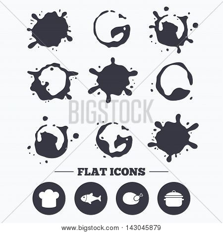 Paint, coffee or milk splash blots. Chief hat and cooking pan icons. Fish and chicken signs. Boil or stew food symbol. Smudges splashes drops. Vector