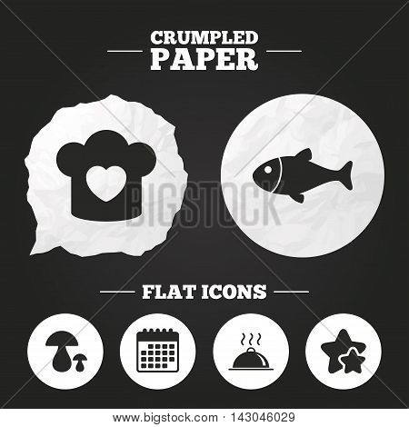 Crumpled paper speech bubble. Chief hat with heart and cooking pan icons. Fish and boletus mushrooms signs. Hot food platter serving symbol. Paper button. Vector