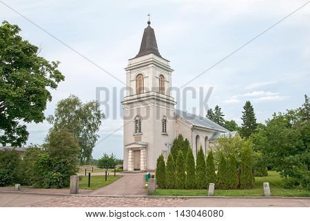 HAMINA, FINLAND - JUNE 26, 2016: The 15th century Lutheran church of St Mary and Church Museum. The oldest building in the region.
