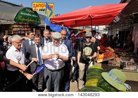 Orel Russia - August 05 2016: Orel city day. Vladimir Zhirinovsky at city fair surrounded with people at market place