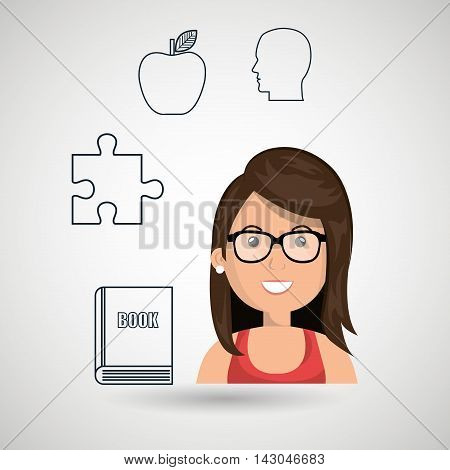 woman target student icon vector illustration graphic