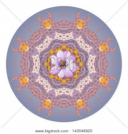 Flower mandala. Clematis. Beautiful floral round ornament.