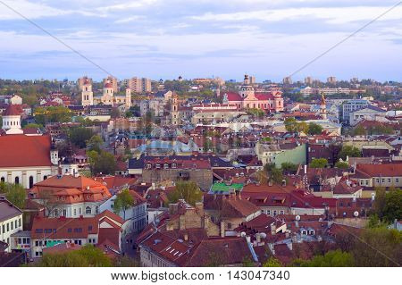 Scenic summer panoramic aerial view of Vilnius old town. Lithuania