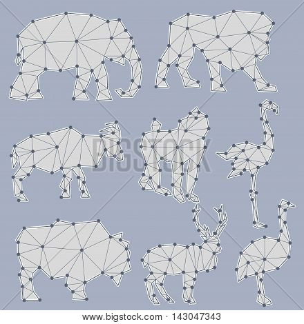Vector Set Of Origami Animal Silhouettes (elephant, Lion, Goat, Monkey, Flamingo, Bull, Deer, Ostric