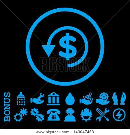 Chargeback glyph icon. Image style is a flat pictogram symbol inside a circle, blue color, black background. Bonus images are included.