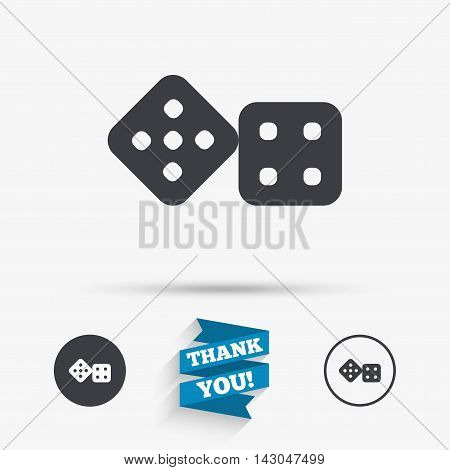 Dices sign icon. Casino game symbol. Flat icons. Buttons with icons. Thank you ribbon. Vector