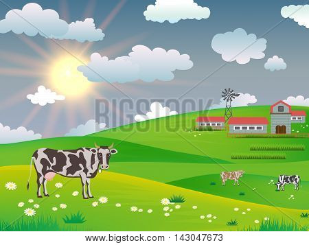 Dairy cows in a field near a farm on a background of the morning sun, Vector cows.