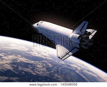 Space Shuttle In Space. Realistic 3D Illustration.