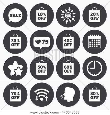 Calendar, wifi and clock symbols. Like counter, stars symbols. Sale discounts icons. Special offer signs. Shopping bag, price tag symbols. Talking head, go to web symbols. Vector