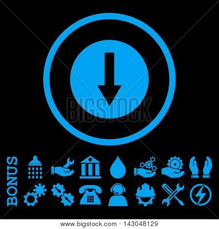 Down Rounded Arrow glyph icon. Image style is a flat pictogram symbol inside a circle, blue color, black background. Bonus images are included.