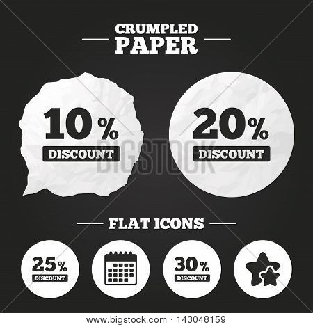 Crumpled paper speech bubble. Sale discount icons. Special offer price signs. 10, 20, 25 and 30 percent off reduction symbols. Paper button. Vector