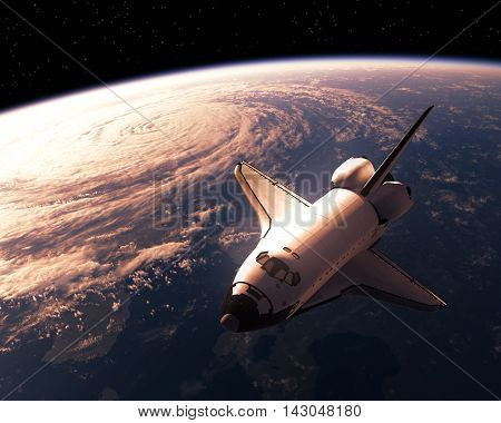 Space Shuttle Orbiting Planet Earth. 3D Illustration.