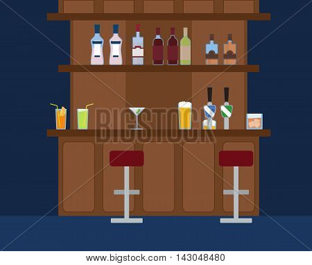 Party Bar with lots of different alcohol drinks vector background. Wine, coctail, beer, martini, whiskey and vodka.