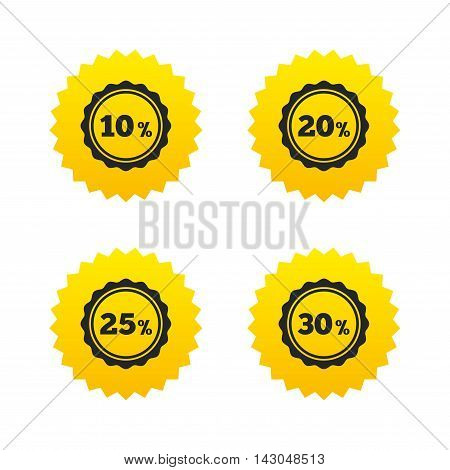 Sale discount icons. Special offer stamp price signs. 10, 20, 25 and 30 percent off reduction symbols. Yellow stars labels with flat icons. Vector