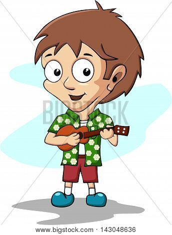 boy playing ukulele. illustration of children playing music instrument