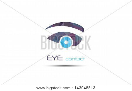 Vector abstract eye icon. Graphic element of vision symbol. Web spy search button. Creative modern Design template in blue shades of color