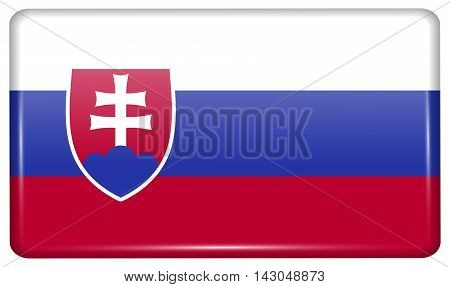 Flags Slovakia In The Form Of A Magnet On Refrigerator With Reflections Light. Vector