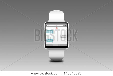 modern technology, online communication, object and media concept - illustration of black smart watch with messenger application on screen over gray background