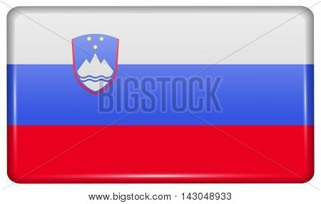 Flags Slovenia In The Form Of A Magnet On Refrigerator With Reflections Light. Vector