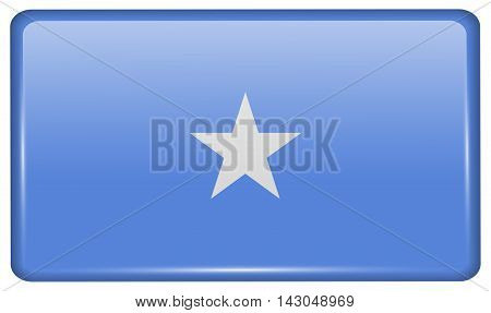 Flags Somalia In The Form Of A Magnet On Refrigerator With Reflections Light. Vector