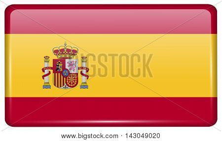 Flags Spain In The Form Of A Magnet On Refrigerator With Reflections Light. Vector