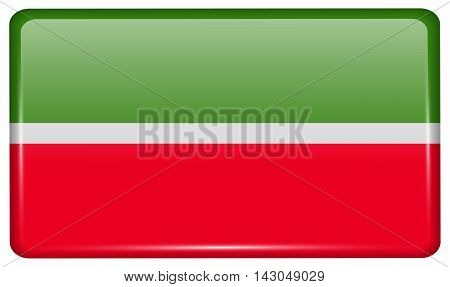 Flags Tatarstan In The Form Of A Magnet On Refrigerator With Reflections Light. Vector