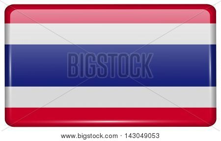 Flags Thailand In The Form Of A Magnet On Refrigerator With Reflections Light. Vector