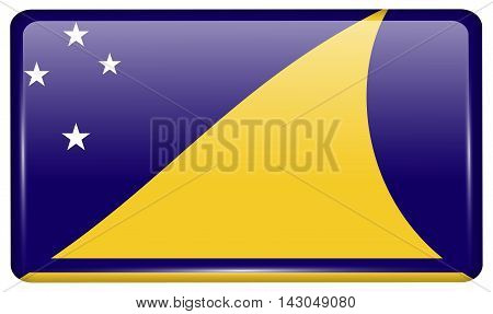 Flags Tokelau In The Form Of A Magnet On Refrigerator With Reflections Light. Vector