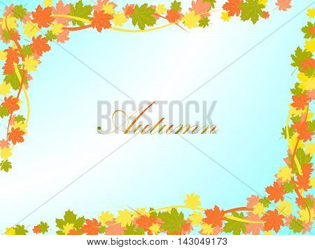 Autumn Light Blue Background With Colorful Maple Leaves And Lines In Opposite Corners